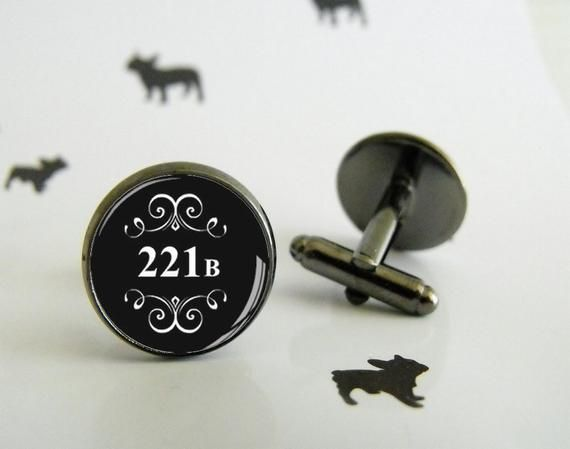 221 B – Cufflinks with glass cabochon – Special wedding gift – Geek gift – Etsy Special Gift – Sherlock Holmes – Geek Wedding