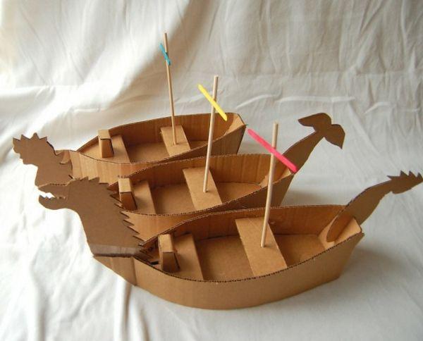 DIY mit Kindern karton pappe boote