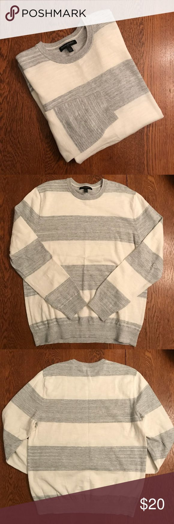 Banana Republic Mens Crewneck Sweater Classic gray and white wide striped sweater with crew neck and long sleeves. Lightweight but great quality and warm. Excellent condition!!  📏Size - L  ✨ Materials 100% Cotton  💰Bundle 2 or more items and save!  📸 Follow me on IG @cubbycreekboutique Banana Republic Sweaters Crewneck