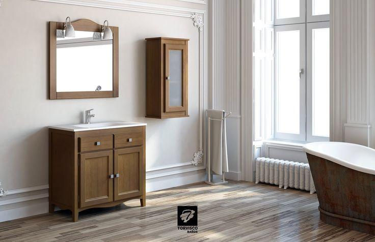 Mueble INDO de TORVISCO GROUP de 80cms en acabado Nogal oscuro. Con espejo y armarito de colgar a juego. Lleva una encimera de cristal y focos ZAMIRA.