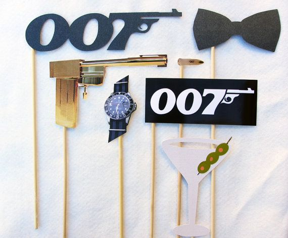 James Bond Photo Booth Prop Collection. Set or A La Carte. Photo Props for parties and weddings. Theme.