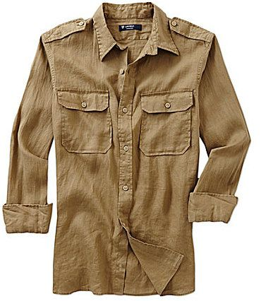 Cremieux Long-Sleeve Washed Linen Safari Shirt