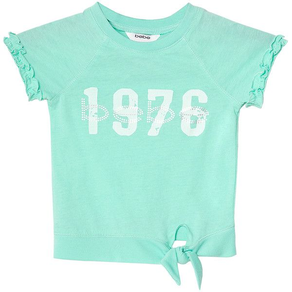 Bebe Women's Tie Front Active Top ($20) ❤ liked on Polyvore featuring tops, t-shirts, aqua, logo t shirts, logo tee, short t shirt, blue t shirt and blue tee