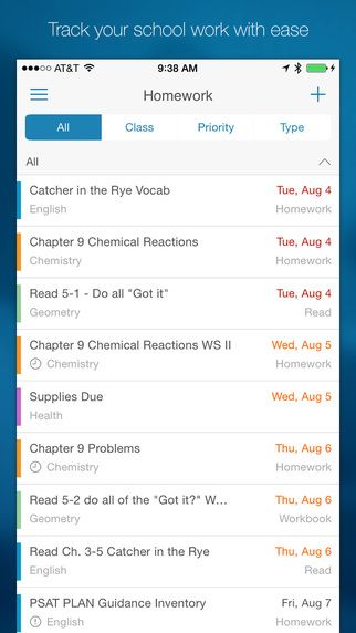My Homework Student Planner. Kids can set up reminders on deadlines for various homework assignments and tests.