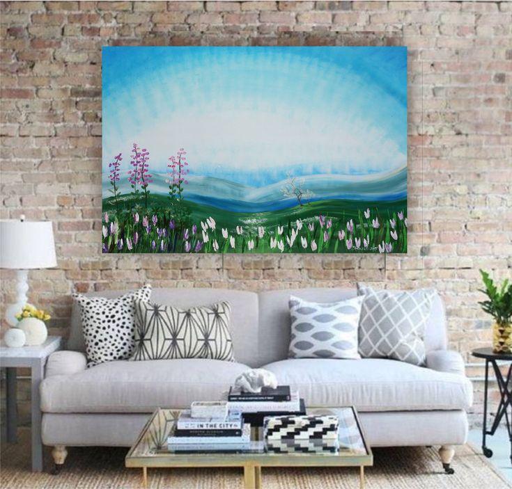 "Alaska spring painting Large wall art on canvas ""Spring 42"" white tulips sakura cherry blossom meadow blue green landscape by Ksavera"