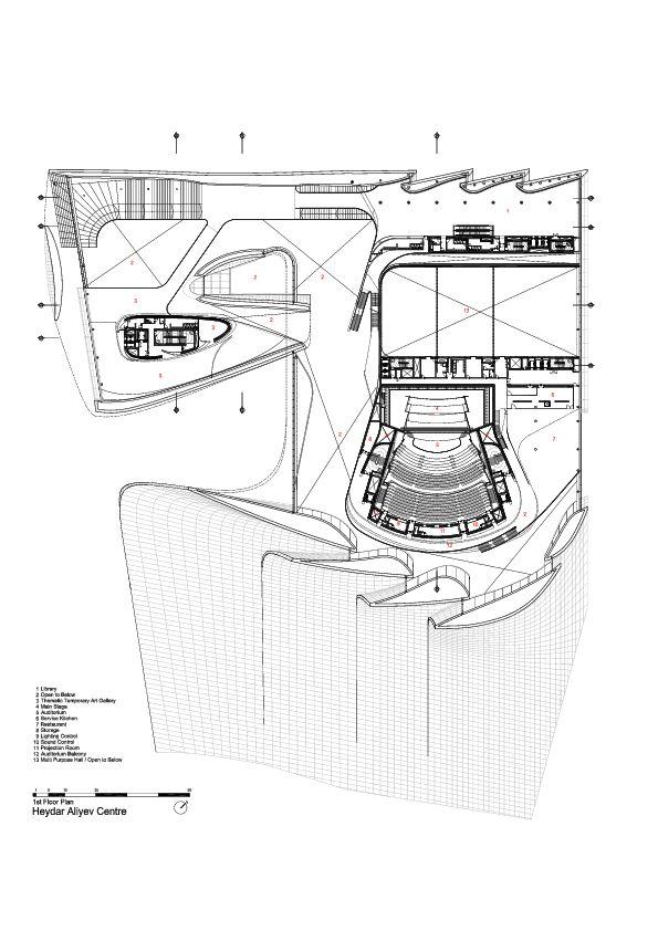 1st Floor Plan -> Heydar Aliyev Center / Zaha Hadid Architects