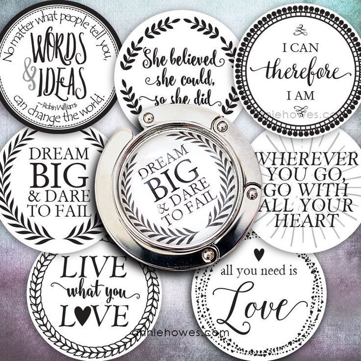 This original 30mm circle sized purse hanger and 30mm pendant digital collage sheet contains black and white high resolution 30mm images of our favorite quotes. These images were designed by Annie How