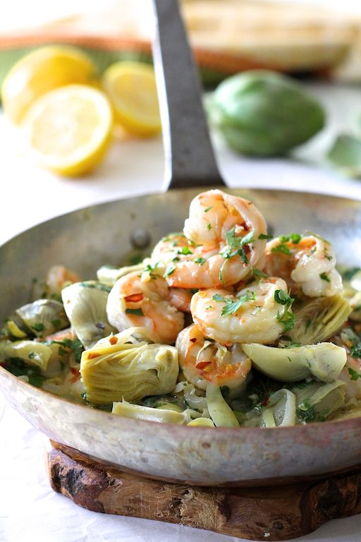 Find Shrimp Scampi with Shallots and Artichokes and other creative recipes at A Cookbook Obsession