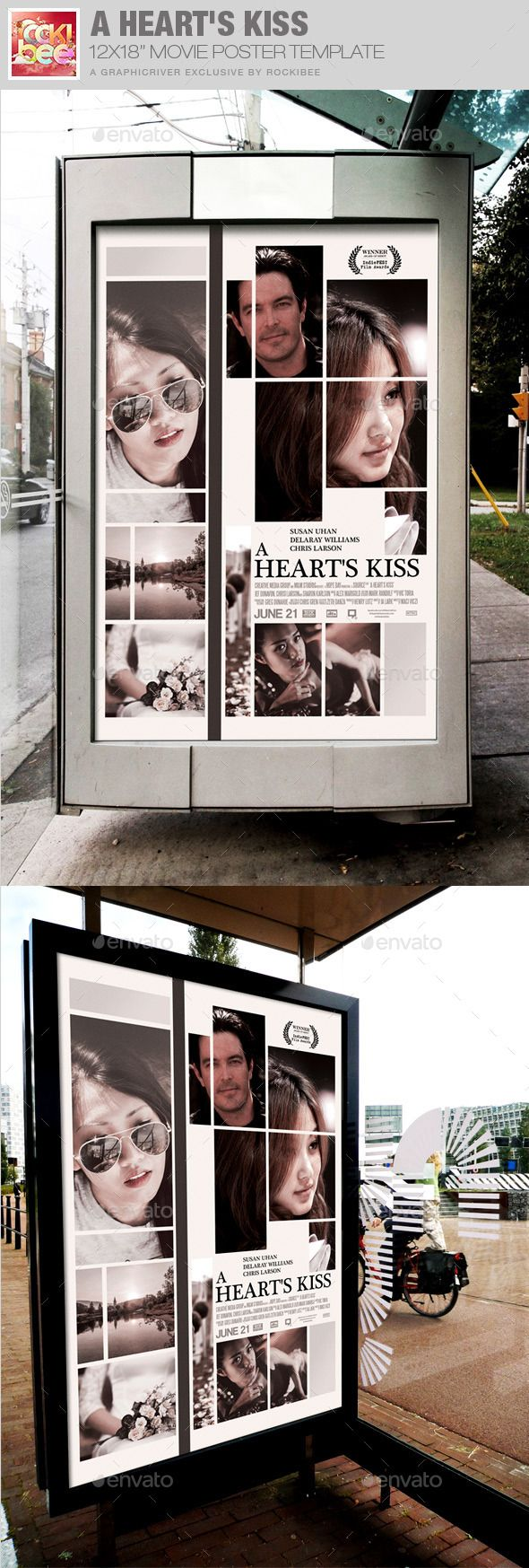 A Heart's Kiss Movie Poster Template — Photoshop PSD #media #cinema • Available here → https://graphicriver.net/item/a-hearts-kiss-movie-poster-template/12028060?ref=pxcr