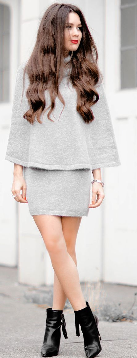 Sarah Styles, Seattle Angora Grey Cape & Skirt Set.