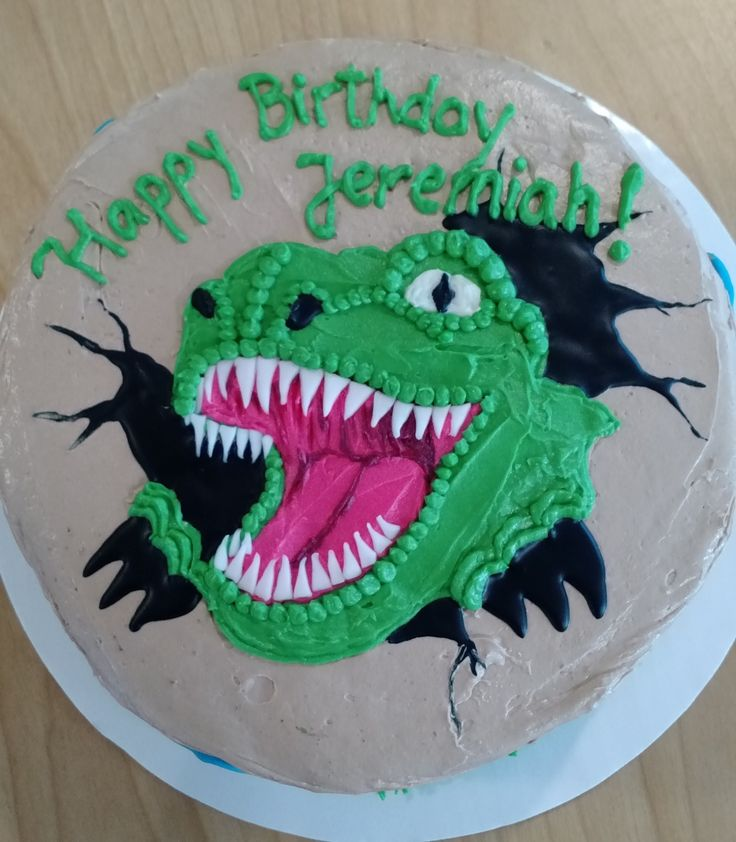 T-Rex cake - chocolate cake with chocolate buttercream (April 2016)