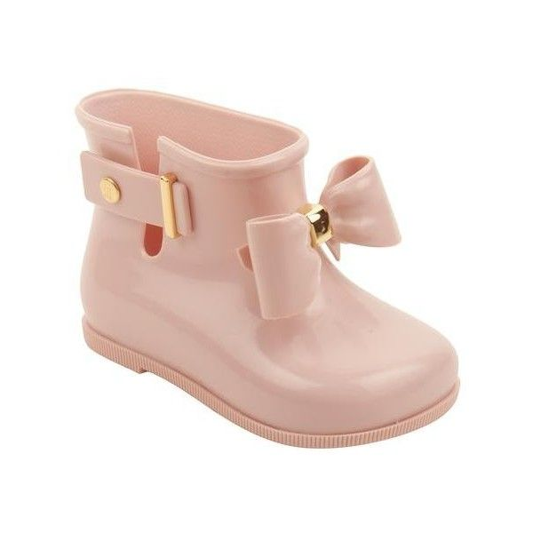 Light Pink Sugar Rain Bow Boots by Mini Melissa (520 NOK) ❤ liked on Polyvore featuring shoes, boots, melissa boots, pvc boots, melissa footwear, bow shoes and bow boots
