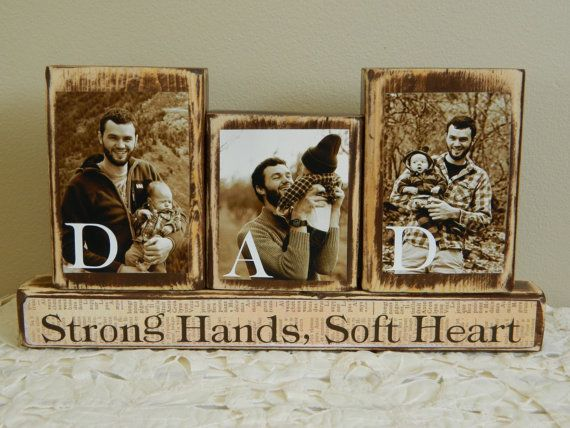Personalized Fathers Day gift father photo with son and daughter sepia Dad strong hands soft heart brown Last day to buy June 1