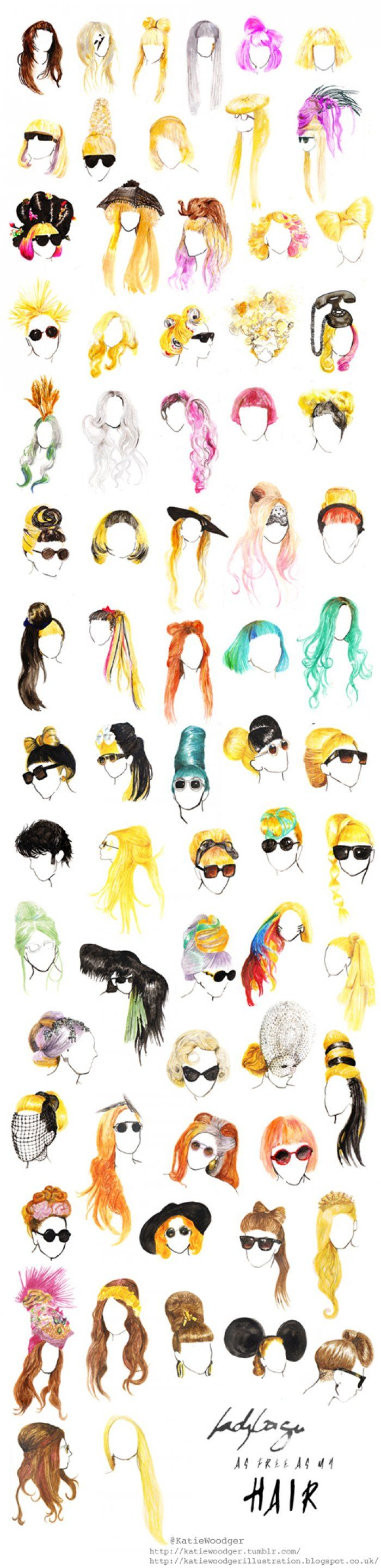Awesome & amazing sketches of Lady Gaga's hairstyles/wigs throughout her career :) love it!