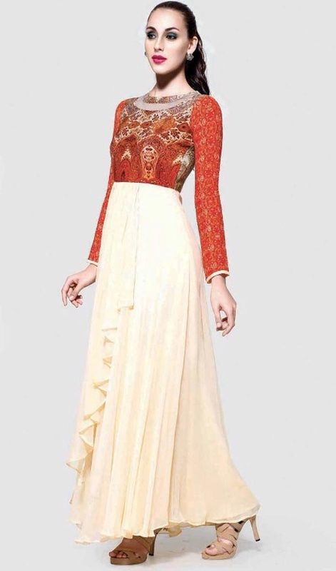 Do not be taken aback as you transform into a fairy tale princess as you are clad in this orange and cream color georgette printed gown. The ethnic printed work for the attire adds a sign of attractiveness statement for the look.  #sexylookgowns #fashionablegowndesign #lateststylegowncollection
