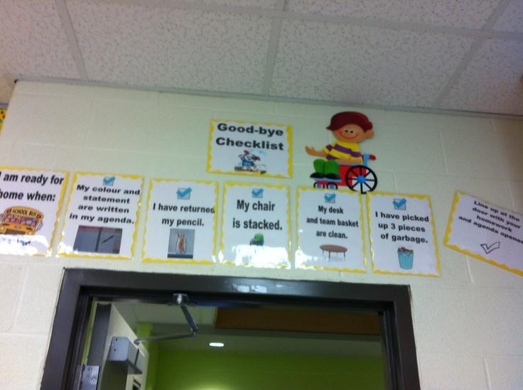 Classroom management - goodbye checklist