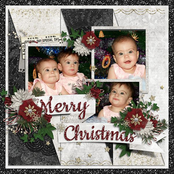 Merry Christmas  Template : Titled 10 by Akizo Designs Kit : Winter Sparkle, Absolute Insanity by Created by Jill Photos : AdinaVoicu
