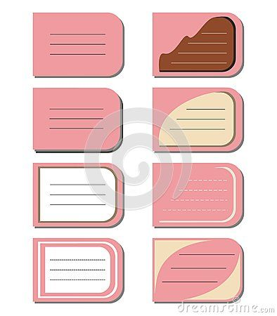 Eight #different #text #frames on a #pink #background