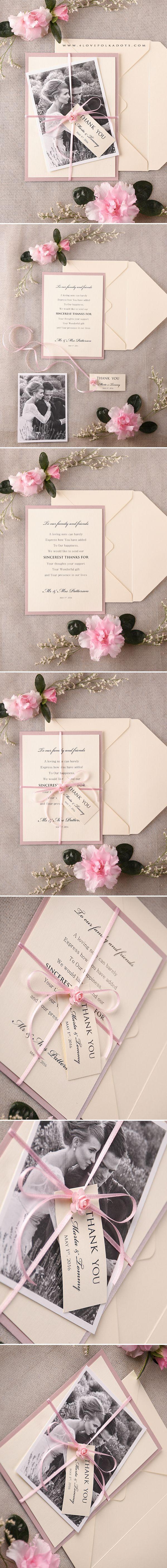 Wedding Thank You Card with Your Photo #weddingideas #pink #cream #summerwedding