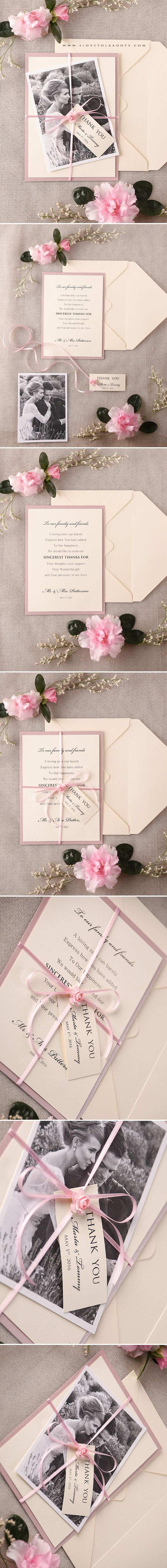 Wedding Thank You Card with Your Photo #weddingideas #pink #cream #summerwedding