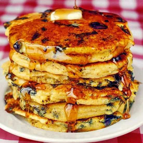 Blueberry Lemon and Cornmeal Pancakes - Sunday morning means a great pancake brunch awaits. Here's a go-to recipe in our family or some of the absolute best you will ever eat.