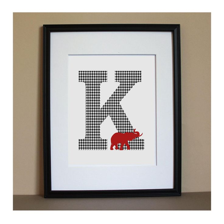 Personalized Alabama Houndstooth Initial by BDoodlesDesigns