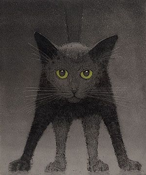"Larry Welo ~ Shadowcat (intaglio)         shadowcat    image size: 12"" x 10""    medium: color intaglio    edition: 150"