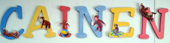 Curious George Themed Nursery Decor: Curious George Personalized Letter Decor