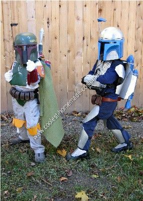 Homemade Boba and Jango Fett Couple Costume Idea: My sons are Star Wars fanatics! When they said they wanted to be Boba and Jango, I looked at the store-bought costumes and thought, Ugh! They look cheap