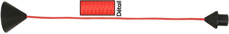Cordon électrique en tissu Rouge - 53cm - e-metropolight