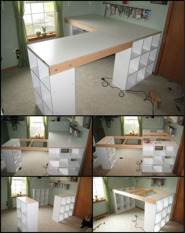 Do you (or someone you know) do a lot of craft projects? This craft table with pigeon holes will let you keep everything tidy, organised and close at hand. theownerbuilderne... It's easy to build and modify to fit your own room as it is basically three shelves connected by the table top frames. - Crafting Is My Life