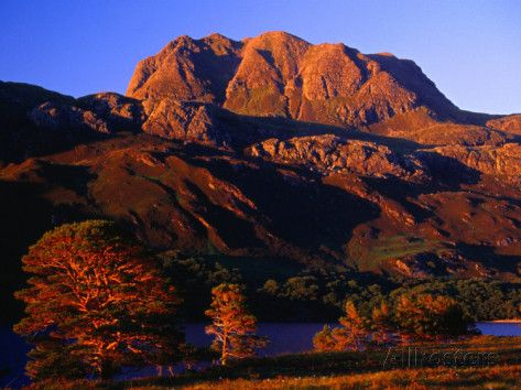 Siloch Lit by Evening Light at Loch Maree, Wester Ross, Scotland Photographic Print