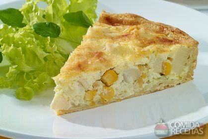 Receita de Quiche com massa e recheio de milho e palmito em receitas de tortas…
