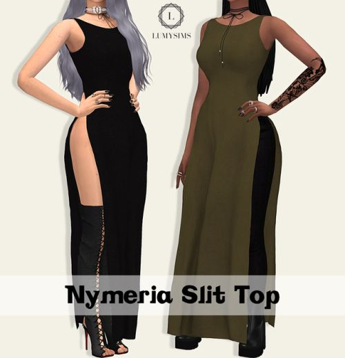 Sims 4 CC's - The Best: NYMERIA SLIT TOP by Lumy Sims