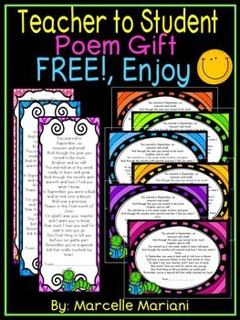 This package consists of 24 different background colored book marks with an original poem that were created as an end of the year gift from me to my students. THIS NOW INCLUDES DIFFERENT START AND END DATES FOR THE SCHOOL YEAR (SEE BELOW). I usually attach a curly ribbon with the bookmark to make it a bit fancier but you don't have to do that.