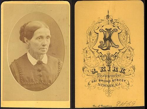 "Nancy Buswell Barker, wife of Wm. Fayette - circa 1870 Photographer: Back: ""J. Kirk, Photographer, 661 Broad Street, Newark, N. J. No. of Negative 31869"""