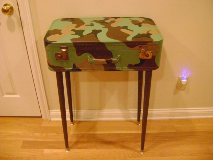 Old suitcase painted camo added legs to make a table i for Diy suitcase table