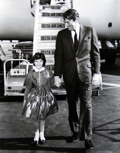 Mary Badham and Gregory Peck arrive on a Delta Air Lines, Convair 880.