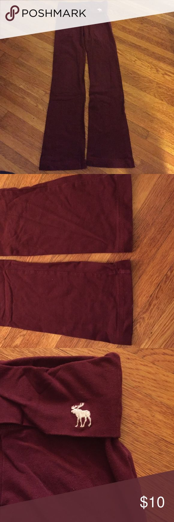 Abercrombie & Fitch maroon yoga pants children's M Abercrombie and Fitch maroon yoga pants boot cut sz children girls medium (10/12). Fold over waistband with moose on front left waistband and Abercrombie on the back. Great condition! Abercrombie & Fitch Bottoms