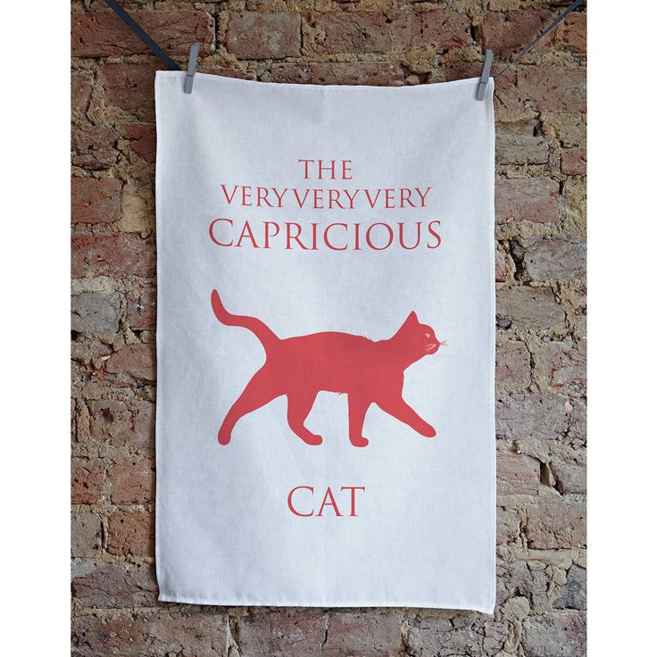 The Capricious Cat. A very apt description for any capricious feline. The very very very capricious cat. The perfect gift for any cat lover.We were getting lots of requests from cat lovers for a tea towel so we came up with 'The Very Very Very Capricious Cat' We felt capricious sums up the charcter of the cat!  Our capricious cat tea towel makes a great gift, whether as a birthday, house warming, wedding, special anniversary, hostess or just a little present for yourself of course! This…