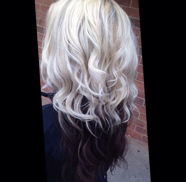 Brown hair color with blonde underneath