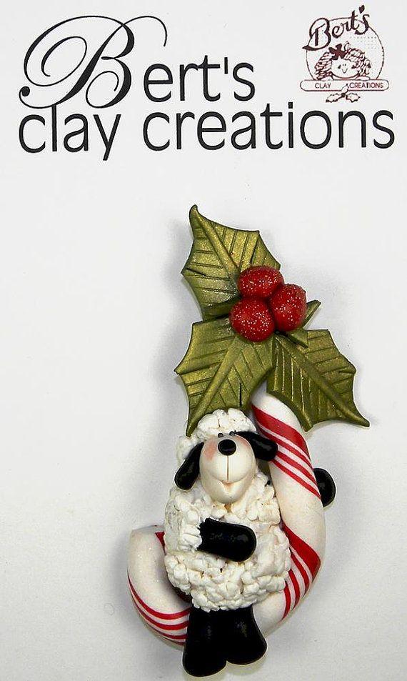 Ornamento de ovejas leyenda del bastón de por BertsClayCreations