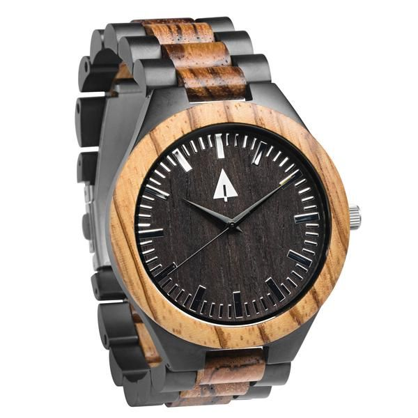 Every Treehut watch is equipped with high quality Japan quartz movement and stainless steel tri-fold clasp with push buttons. Diameter of the dial 1.7 inches. Complementing casual, formal or business wear, this timepiece features a stainless steel bracelet and caseback highlighted with real wood inlays for a sleek and modern addition to your wardrobe.