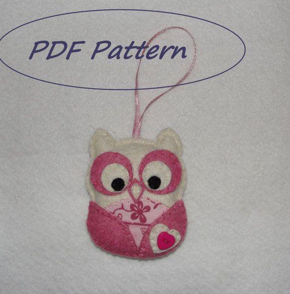 Felt Owl Ornament Pattern Pdf Pattern Owl by NitaFeltThings