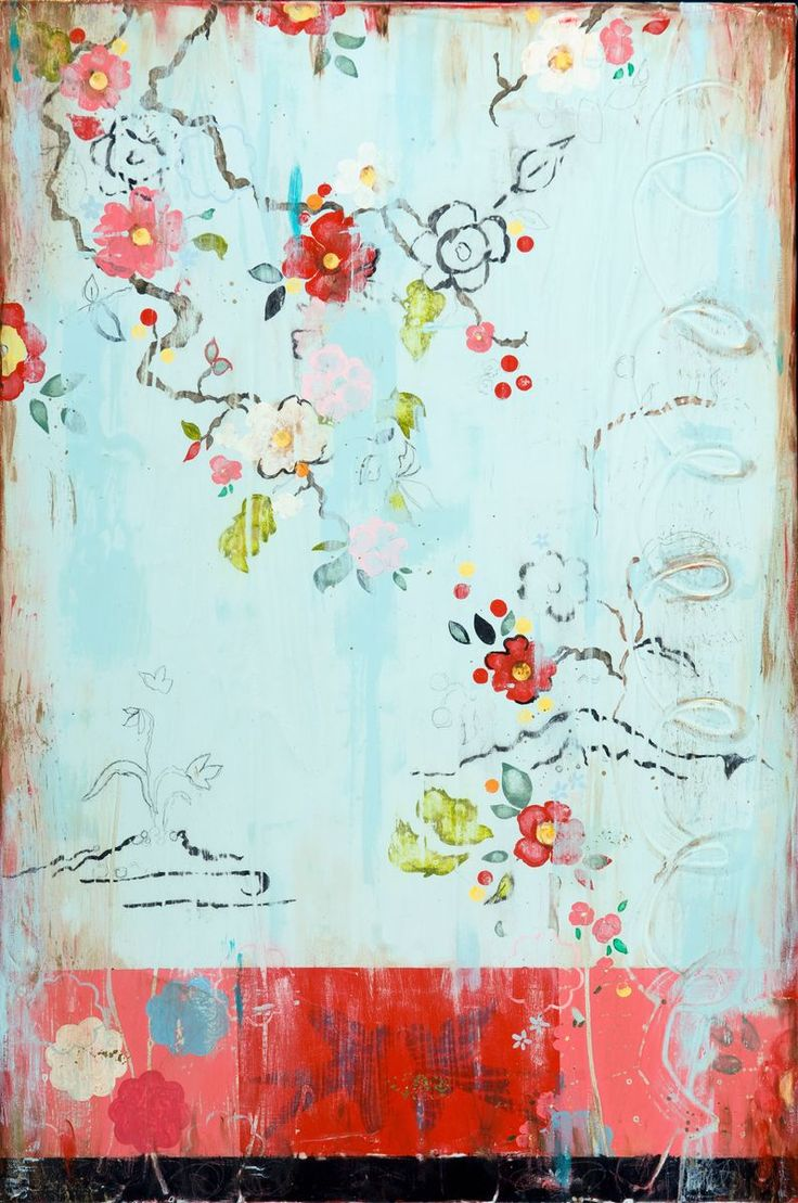 Kathe Fraga creates her paintings with acrylic, ink, and fresco on canvas. Each painting is finished with lacquer.