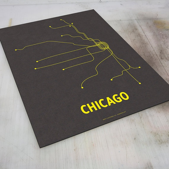 chicago & grey and yellow - @Ashley Greb  look!! I wonder if we can mark Skores on there....Linepost Screens, Chicago Linepost, Screenprint Dark, Screens Prints, Picture-Black Posters, Dark Gray, Chicago Transitional, Chicago Screenprint, Chicago Design
