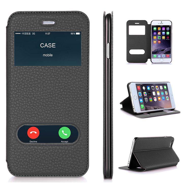 Para el caso de apple iphone 6 plus y iphone 6 s plus de lujo pu Carpeta Del Tirón Del cuero Funda Con Pata de Cabra Capa Casos de Teléfono de 5.5 pulgadas