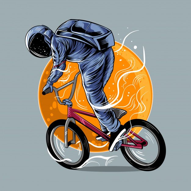 Astronaut Riding Bmx Vector Illustration Artwork With Moon Isolated Light Color Design In 2020 Bmx Stickers Bmx Illustration Artwork