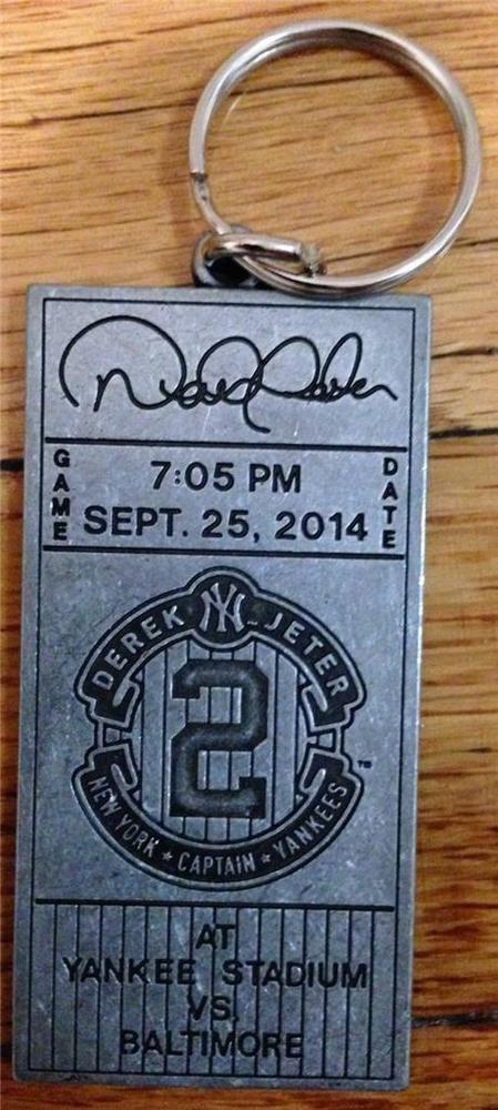 DEREK JETER TICKET KEY RING CHAIN NY NEW YORK YANKEES 8/5/14 2014 SGA STADIUM #NewYorkYankees