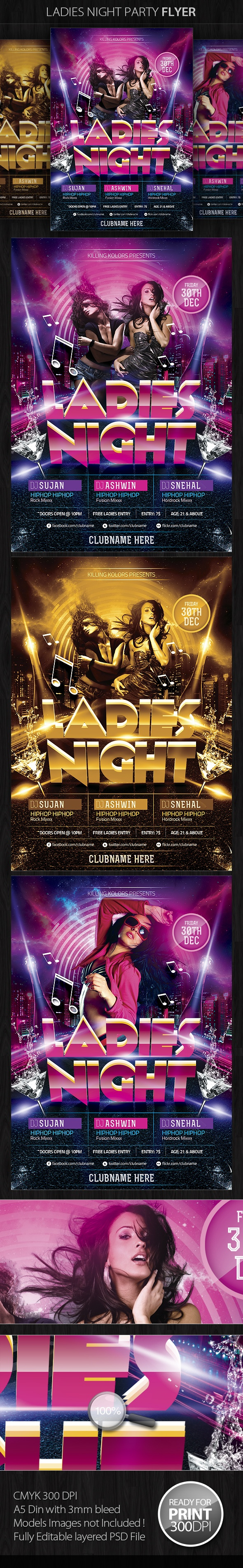 Ladies Night Party Flyer by Mahantesh Nagashetty, via Behance